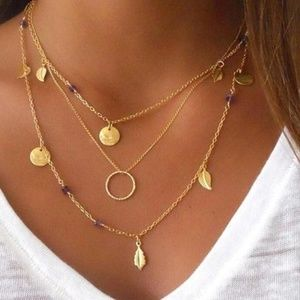 Leaf Pendant Layered Choker Necklace
